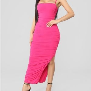 Fashion Nova Hot Pink Midi Dress- NWT